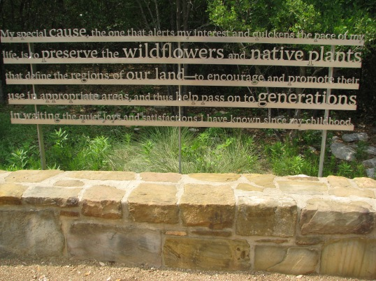 The entry sign at the Lady Bird Johnson Wildflower Center in Austin, TX.